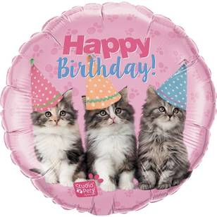 Qualatex Birthday Kitties Foil Balloon