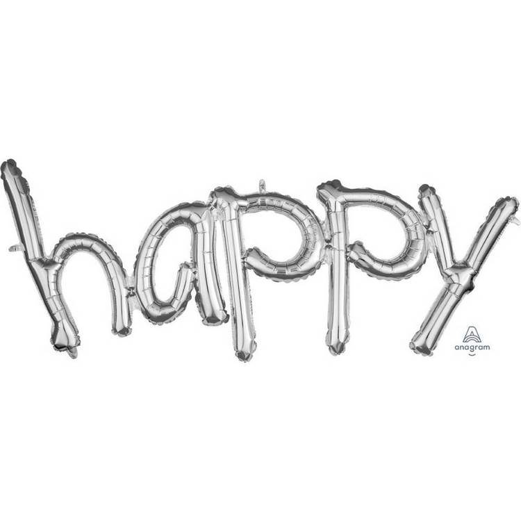 Amscan Anagram Happy Script Silver Foil Balloon