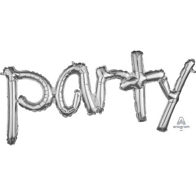 Amscan Anagram Party Script Silver Foil Balloon