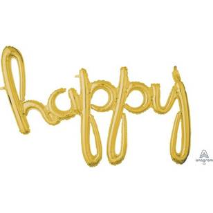 Amscan Anagram Happy Script Gold Foil Balloon
