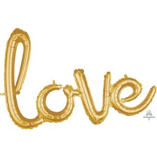 Amscan Anagram Love Script Gold Foil Balloon