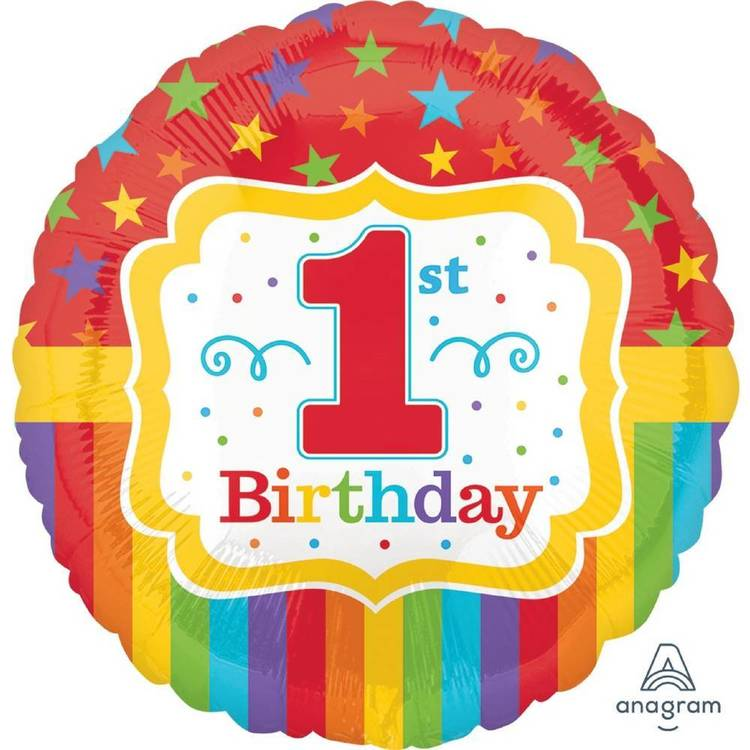 Amscan Anagram Rainbow 1st Birthday Foil Balloon