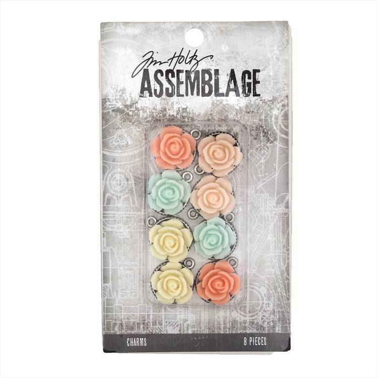 Tim Holtz Charms Roses  Silver & Multicoloured