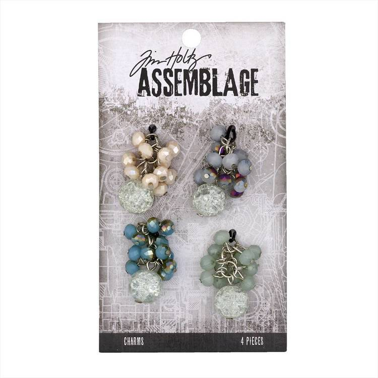 Tim Holtz Charms Beaded Clusters  Silver & Multicoloured