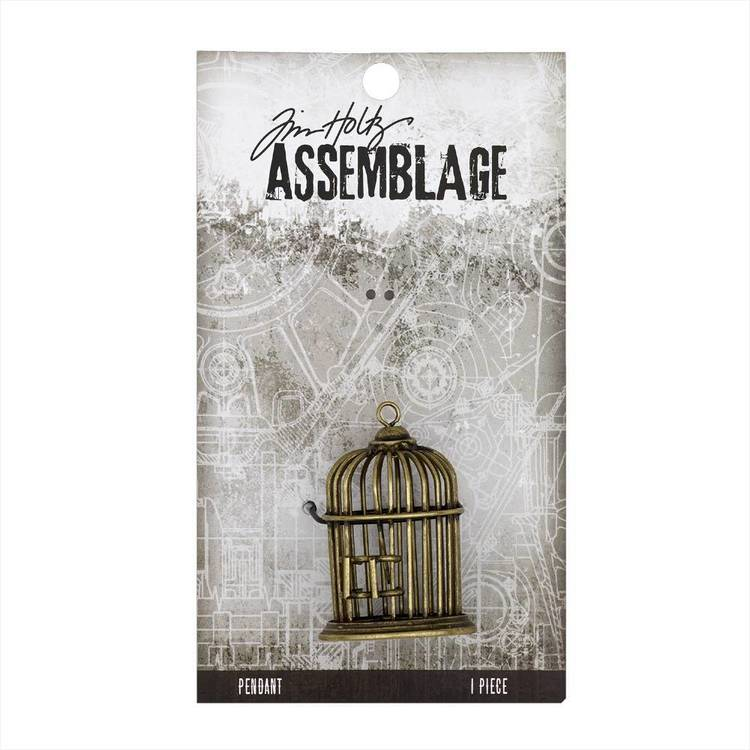 Tim Holtz Pendant Birdcage  Antiqued Gold