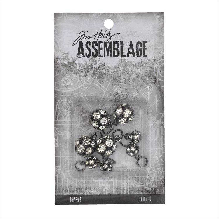 Tim Holtz Charms Sparkle Rondells  Antiqued Silver