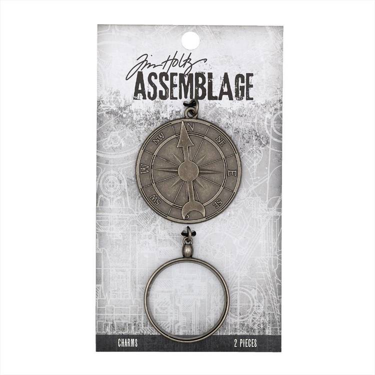 Tim Holtz Charms Compass Monocle  Antiqued Silver