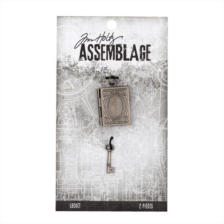 Tim Holtz Locket Book And Key  Antiqued Silver