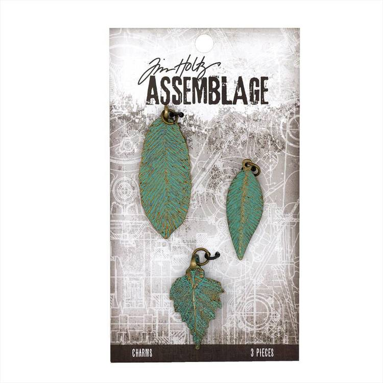 Tim Holtz Charms Patina Leaves  Antiqued Bronze