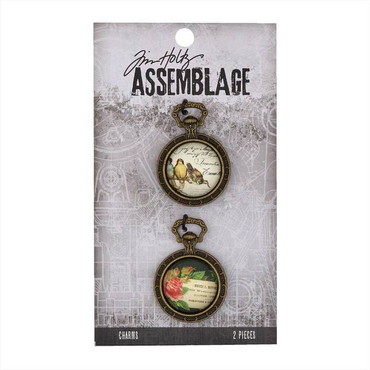 Tim Holtz Charms Collage Domes  Antiqued Bronze