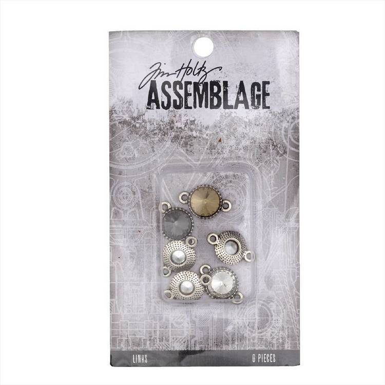 Tim Holtz Links Round Facet Crys Antiqued Silver