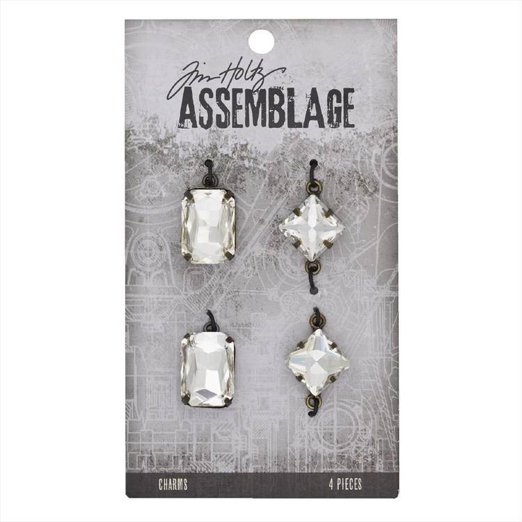 Tim Holtz Charms Faceted Gems  Antiqued Silver