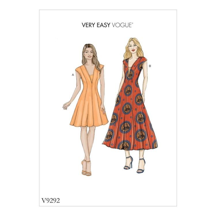 Vogue Pattern V9292 Misses Dress And Dickie