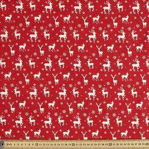 Scandi Christmas Deer Large Quilting Fabric