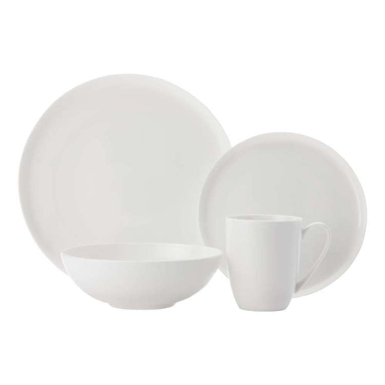 Casa Domani Pearlesque Coupe Dinner 16 Piece Set White
