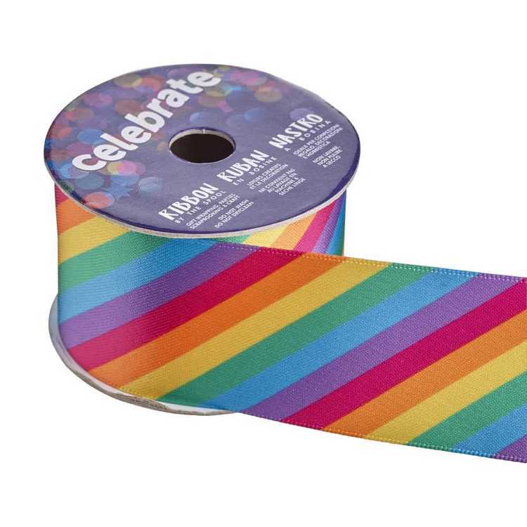 Celebrate Satin Rainbow Wave Ribbon Multicoloured 38 mm x 4 m