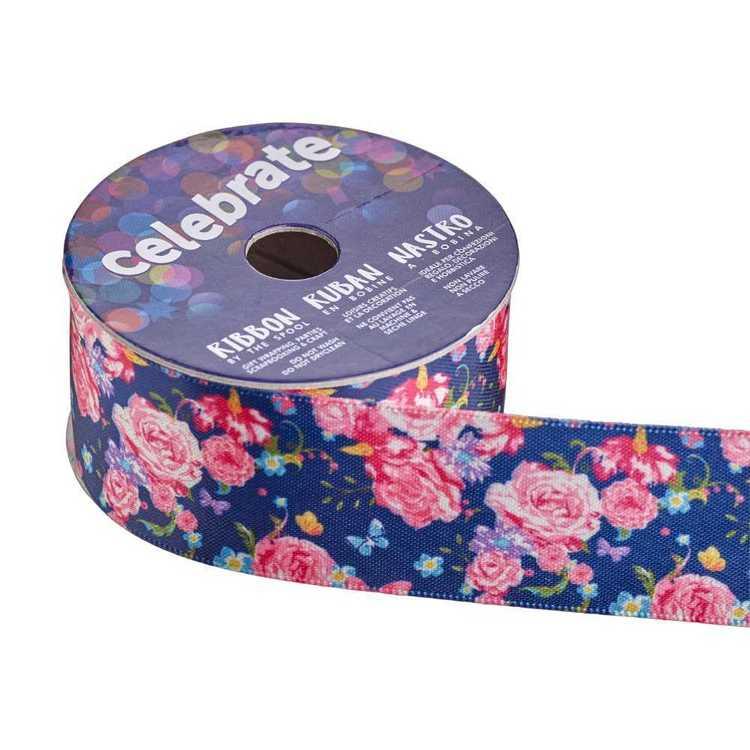 Celebrate Satin Roses 28mm Ribbon