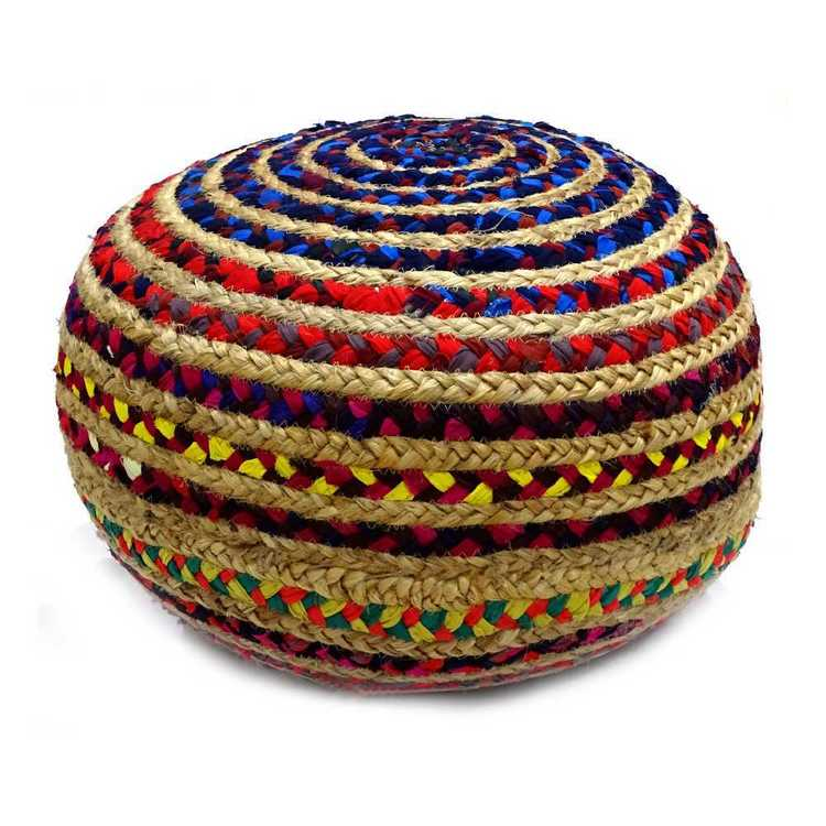 Living Space Jute and Chindi Ottoman