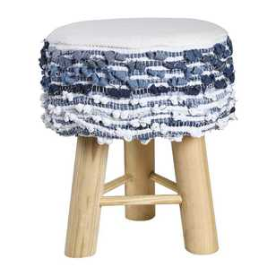 Living Space Chindi Denim Tri-Leg Footstool