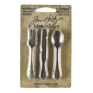 Tim Holtz Adornments, Silverware 9 Pack