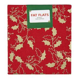 Christmas Metallic Holly Large Flat Fat