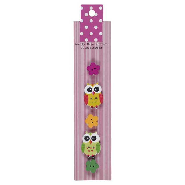 Really Cute Buttons Owls/Flowers