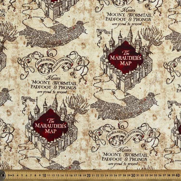 Harry Potter Marauders Map Homespun Fabric Natural 112 Cm