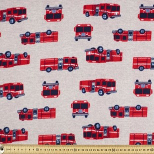 Fire Truck Printed Micro Fleece Fabric