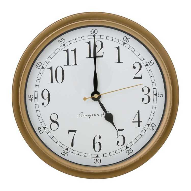 Cooper & Co Kensington Clock Distressed Gold