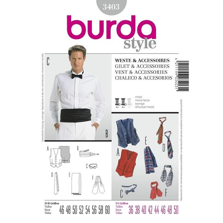 Burda Style Pattern 3403 Vest & Accessories