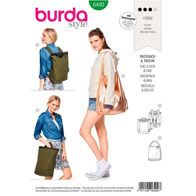 Burda Pattern B6400 Backpack With Zipper Fastener