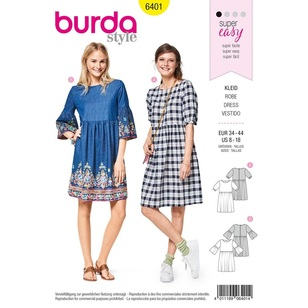 Burda Pattern 6401 Misses' Swing Dress with Sleeve Variations