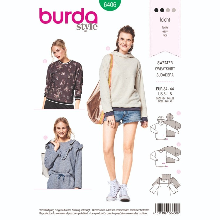 Burda Pattern B6406 Misses' Tops And Hoodies With Rib Knit Bands