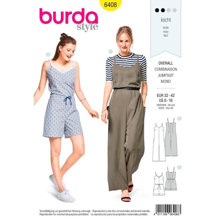 Burda Pattern B6408 Misses' Jumpsuit In Various Lengths