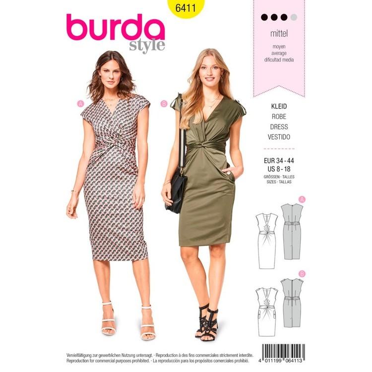 Burda Pattern B6411 Misses' Dress With Front Twist