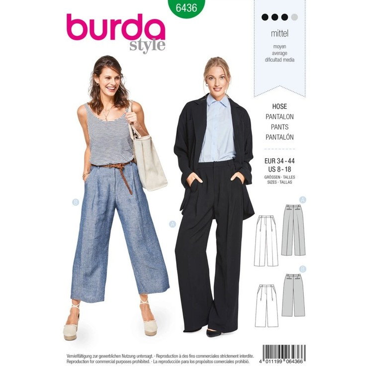 Burda Pattern B6436 Misses' Wide Leg Pants