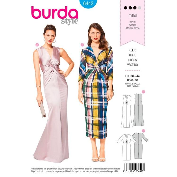 Burda Pattern B6442 Misses' V-Neck Evening Dresses