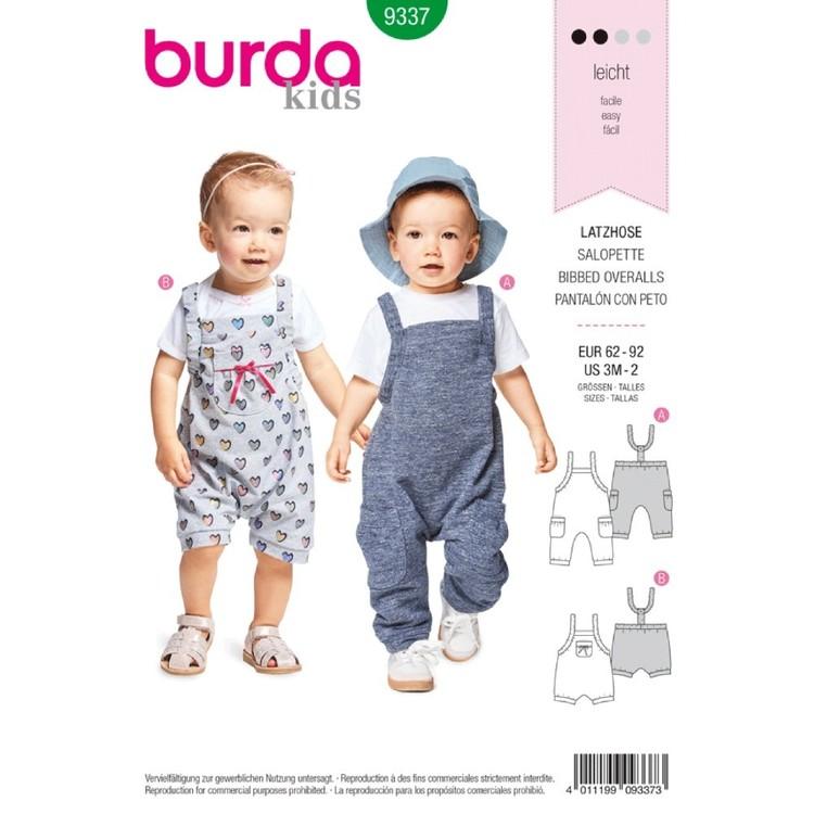 Burda Pattern B9337 Baby's Bibbed Trousers