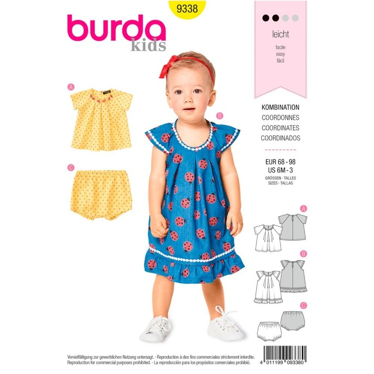 Burda Pattern B9338 Toddler's Blouse And Dress