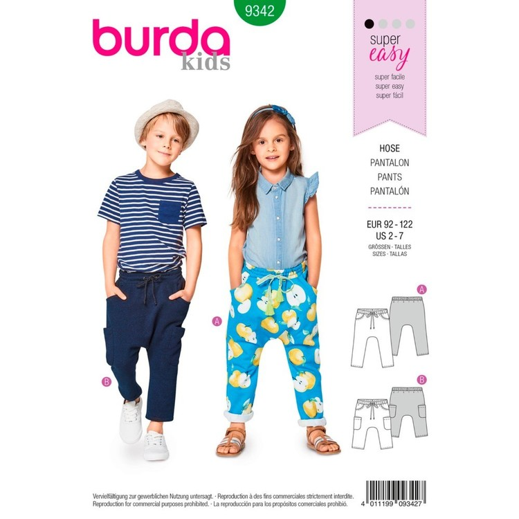 Burda Pattern B9342 Child's Elastic Waistband Pants