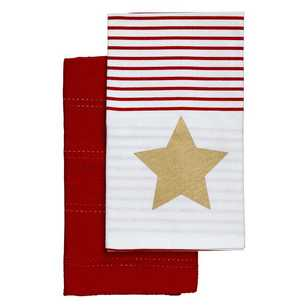 Ladelle Metallic Star Printed Tea Towels 2 Pack