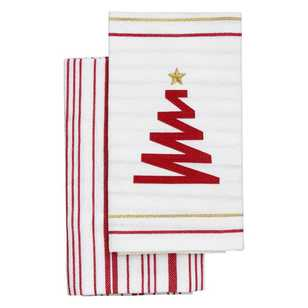Ladelle Zig Zag Christmas Tree Tea Towel 2 Pack