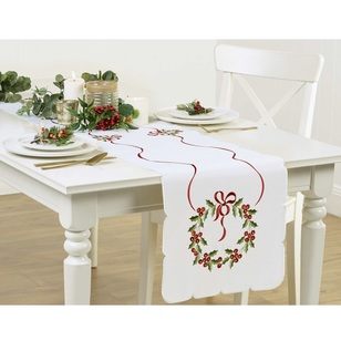 Living Space Festive Scallop Edge Wreath Embroidered Runner