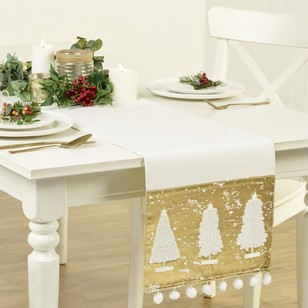 Living Space Festive Golden Trees, Applique Embroider Runner