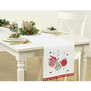 Living Space Festive Embroidered Baubles Pompoms Table Runner