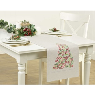 Living Space Festive French Swirl Tree Embroidered Runner