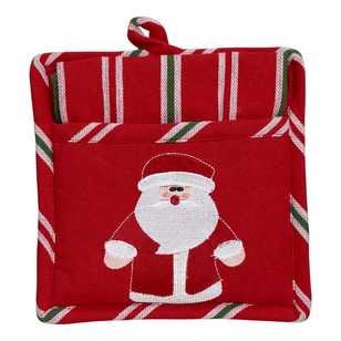 Living Space Festive Christmas Santa Pot Holder & Tea Towel Set