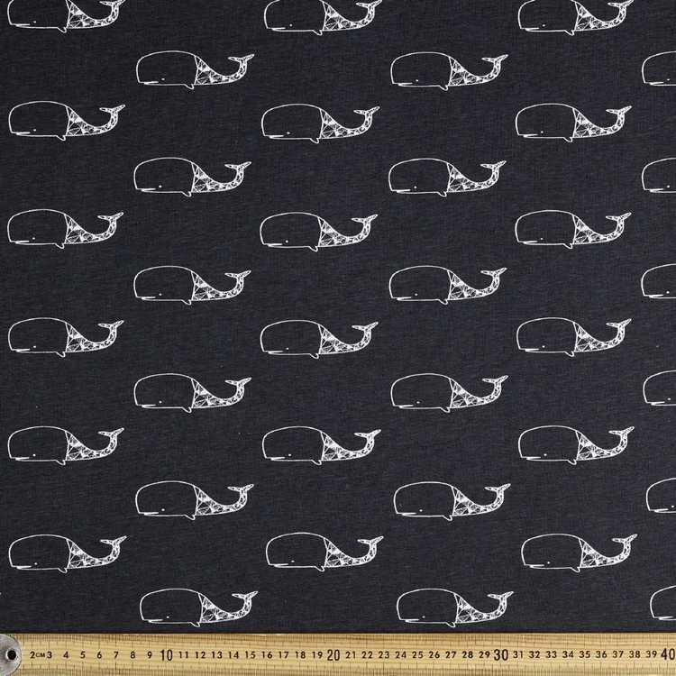 Printed Comb Cotton Embroidered Whale Navy 112 cm Fabric