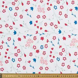 Printed Cotton Spandex Floral 1 Red 148 cm Fabric