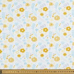 Printed Cotton Spandex Floral 3 Yellow 148 cm Fabric